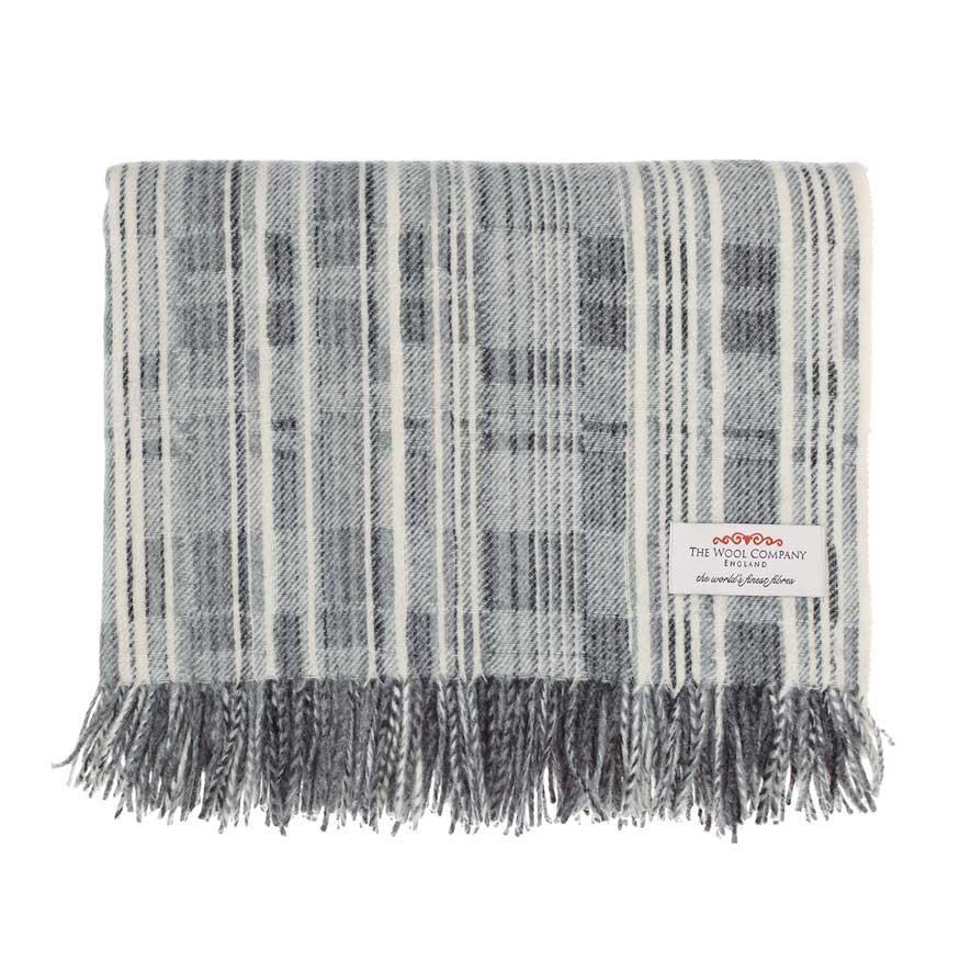 Cream and Grey Merino Throw The Wool Company