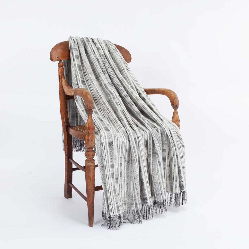 Cream and Grey Merino Throw -  -   from The Wool Company