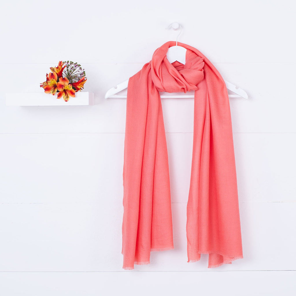 Diamond Weave Fine Wool & Silk Shawls Coral -  - CLOTHING  from The Wool Company