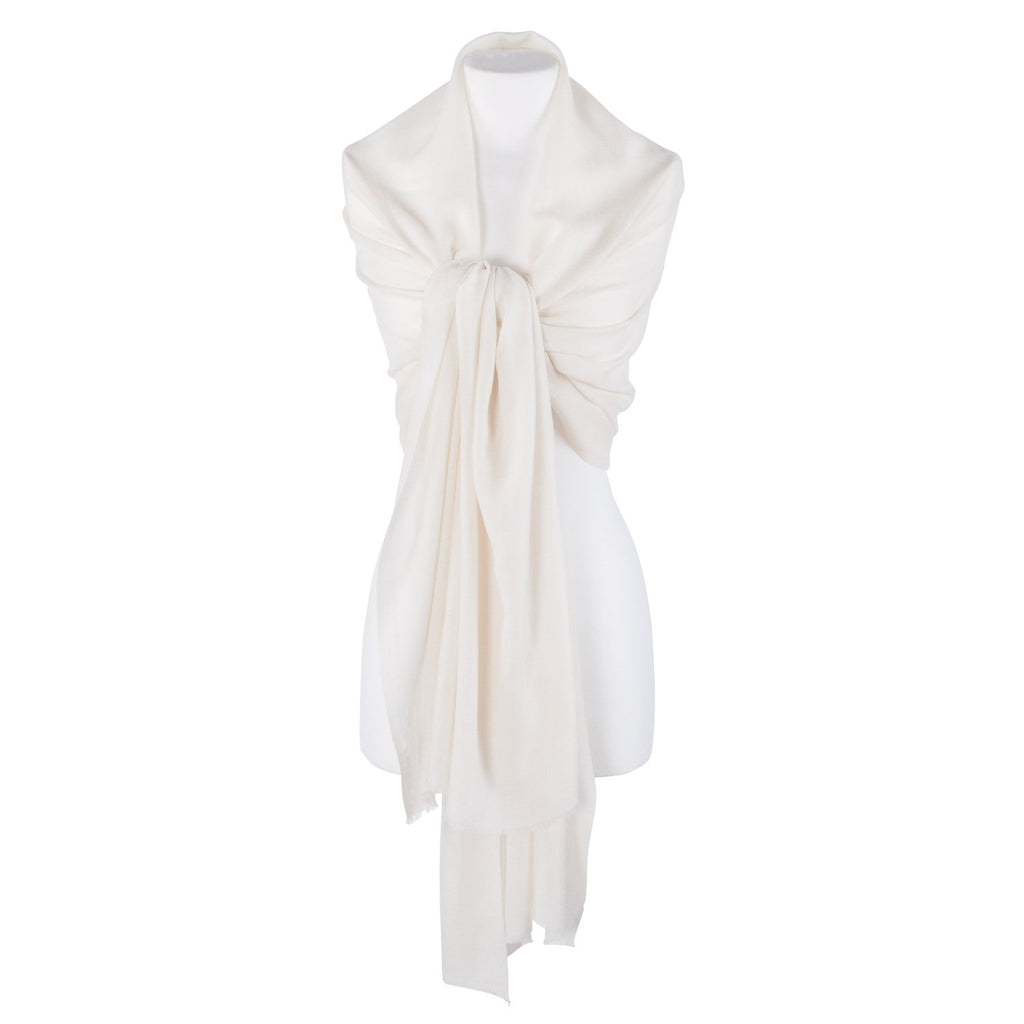 Diamond Weave Fine Wool & Silk Shawls Cream -  - CLOTHING  from The Wool Company