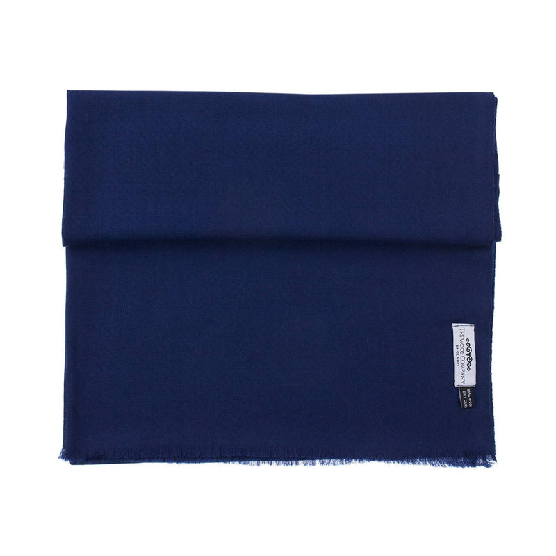Diamond Weave Fine Wool & Silk Shawls Navy CLOTHING The Wool Company