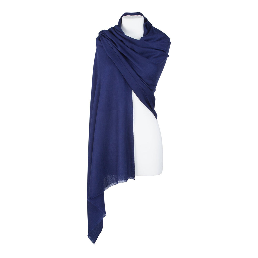 Diamond Weave Fine Wool & Silk Shawls Navy -  - CLOTHING  from The Wool Company