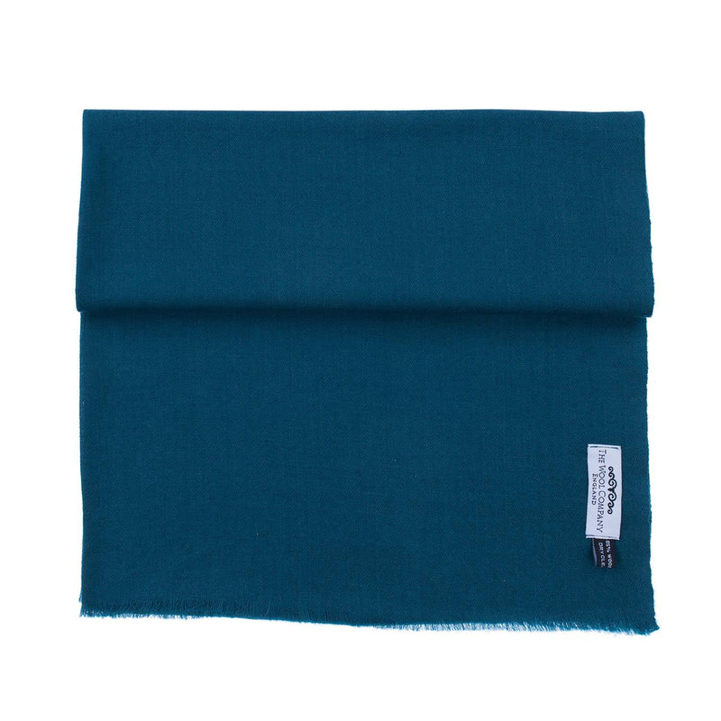 Diamond Weave Fine Wool & Silk Shawls Petrol Blue -  - CLOTHING  from The Wool Company