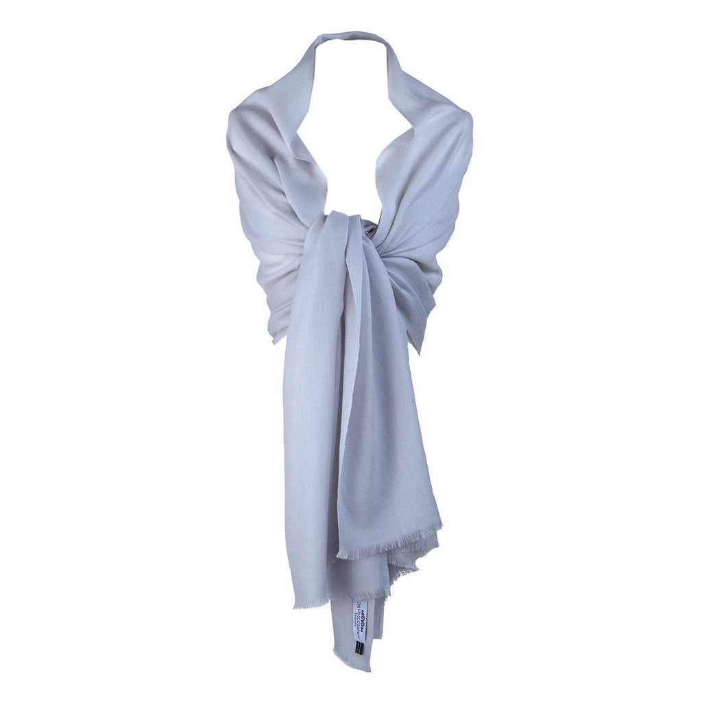 Diamond Weave Fine Wool & Silk Shawls Silver -  - CLOTHING  from The Wool Company