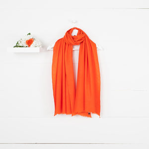 Diamond Weave Fine Wool & Silk Shawls Tangerine -  - CLOTHING  from The Wool Company