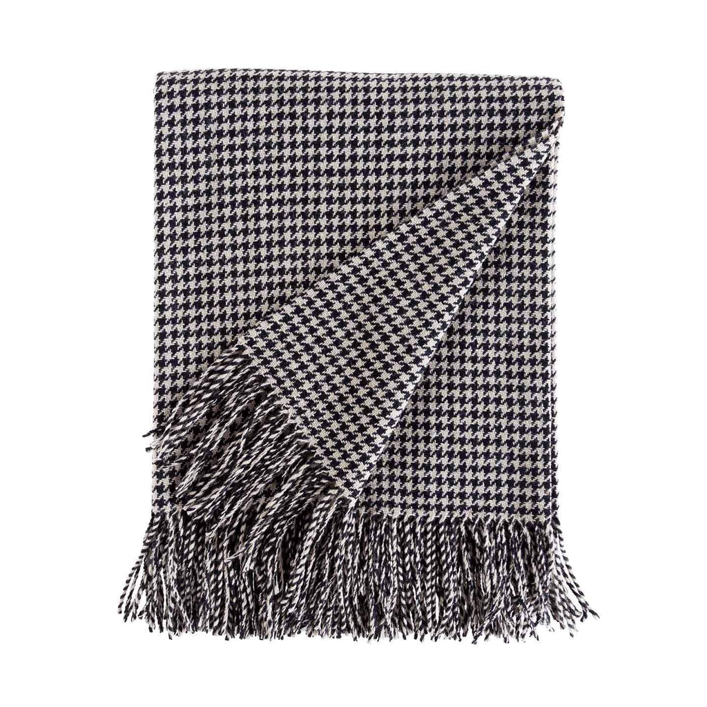 Dogtooth Lambswool Throw in Black & Cream -  - LIVING  from The Wool Company