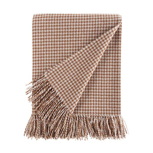 Dogtooth Lambswool Throw in Camel -  - LIVING  from The Wool Company
