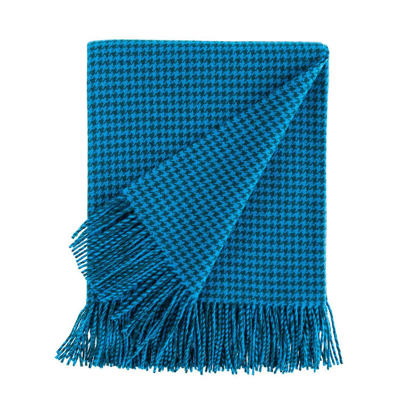 Dogtooth Lambswool Throw in Teal -  - LIVING  from The Wool Company