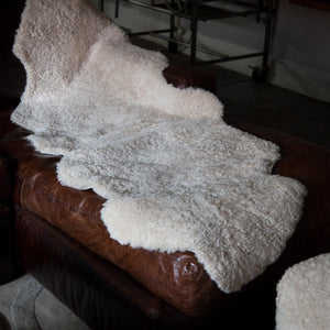 Buy Double Swedish Curly Sheepskin Throw in Oyster From The Wool Company Online