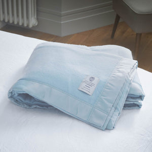 Duchess Merino Blanket - Alaskan Blue / 230 x 230 cm Double - LUXURY BEDDING  from The Wool Company