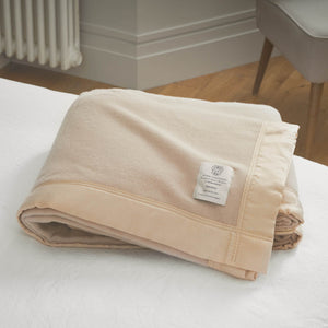 Duchess Merino Blanket - Champagne (Beige) / 230 x 230 cm Double - LUXURY BEDDING  from The Wool Company