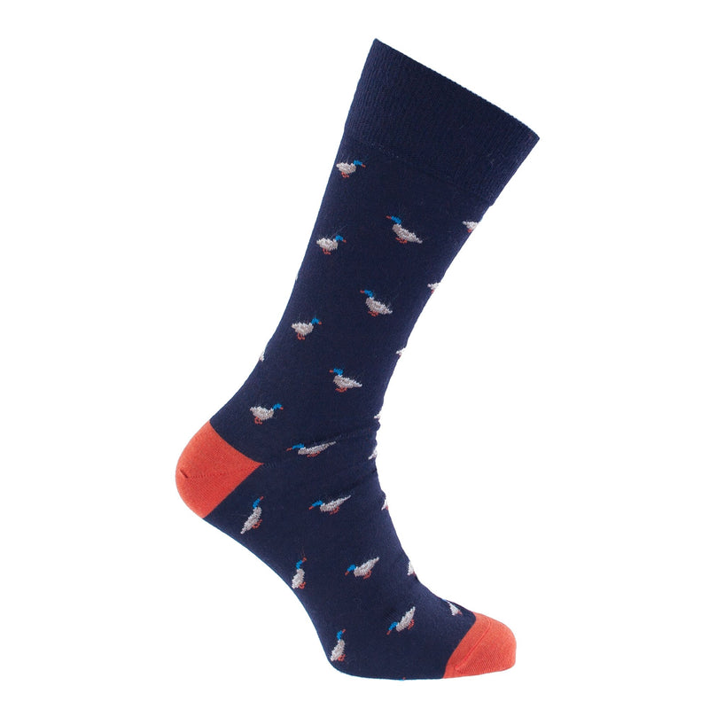 Duck Motif Merino Wool Blend Socks 7.5 - 9 Navy CLOTHING The Wool Company