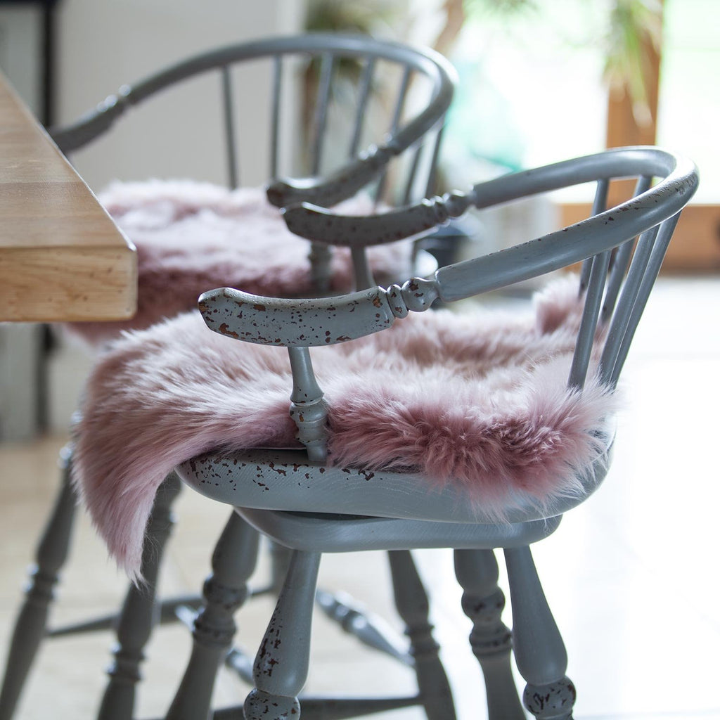 Dusky Pink Sheepskin Seat Pads Round 38 cm -  - SHEEPSKIN  from The Wool Company