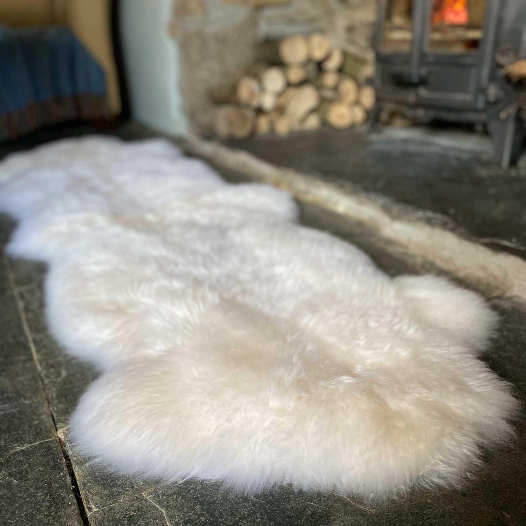 Eco Tanned British Double Natural White SHEEPSKIN The Wool Company