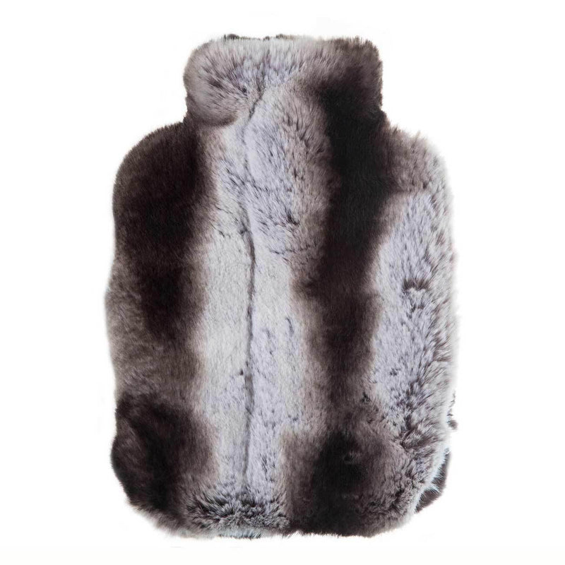 Faux Fur Hot Water Bottle - Black Chinchilla -  - LUXURY BEDDING  from The Wool Company