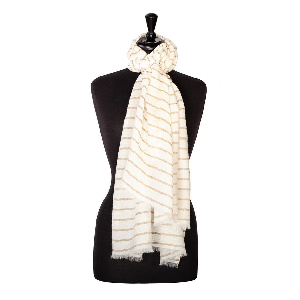 Buy Fine Wool Shawl White and Gold Stripe From The Wool Company Online