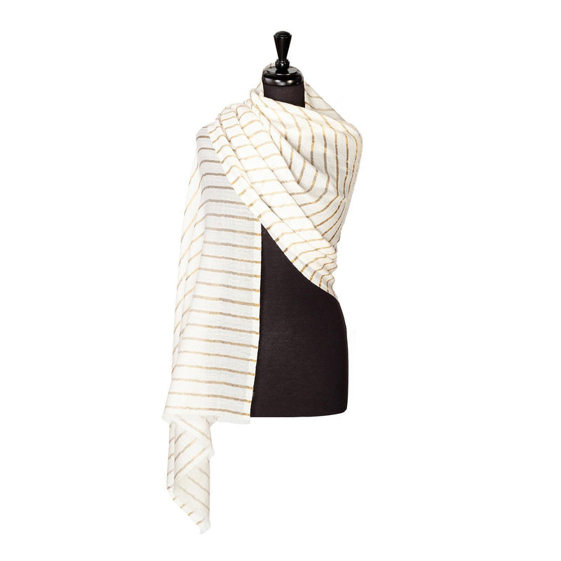 Fine Wool Shawl White and Gold Stripe -  - CLOTHING  from The Wool Company