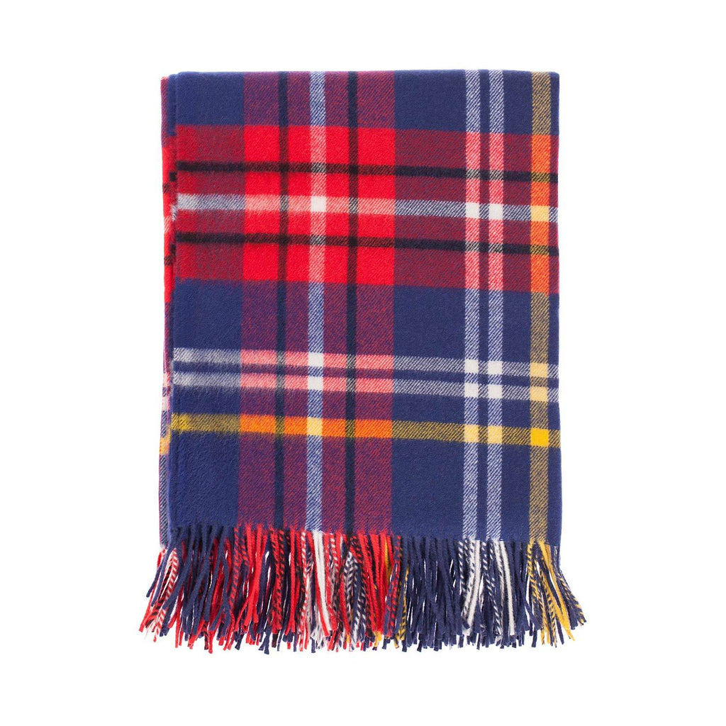 Fontana Superfine Merino Throw Blue & Red Check LIVING The Wool Company