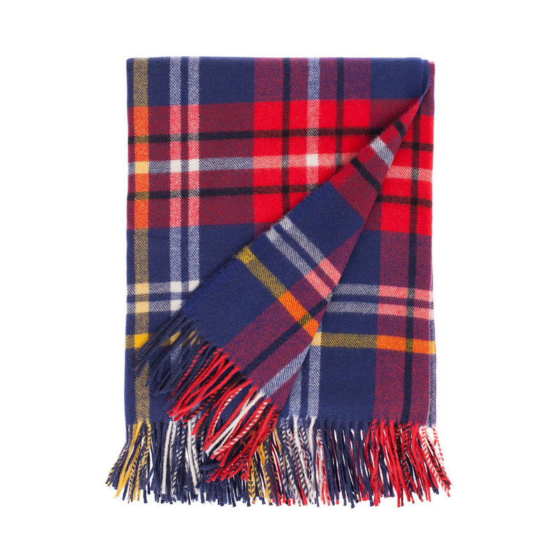 Buy Fontana Superfine Merino Throw Blue & Red Check From The Wool Company Online