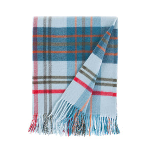 Fontana Superfine Merino Throw in Aqua & Teal Check -  - LIVING  from The Wool Company
