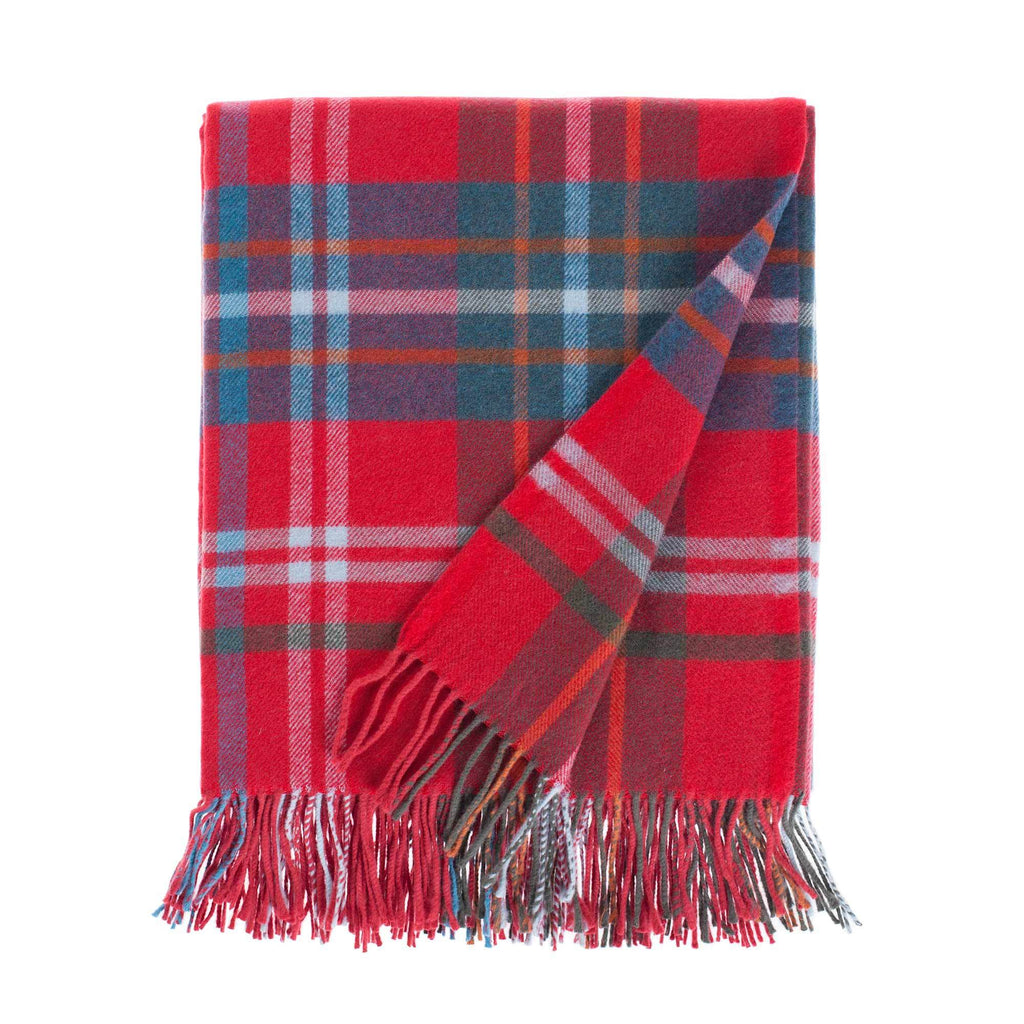 Fontana Superfine Merino Throw in Red & Teal Check -  - LIVING  from The Wool Company
