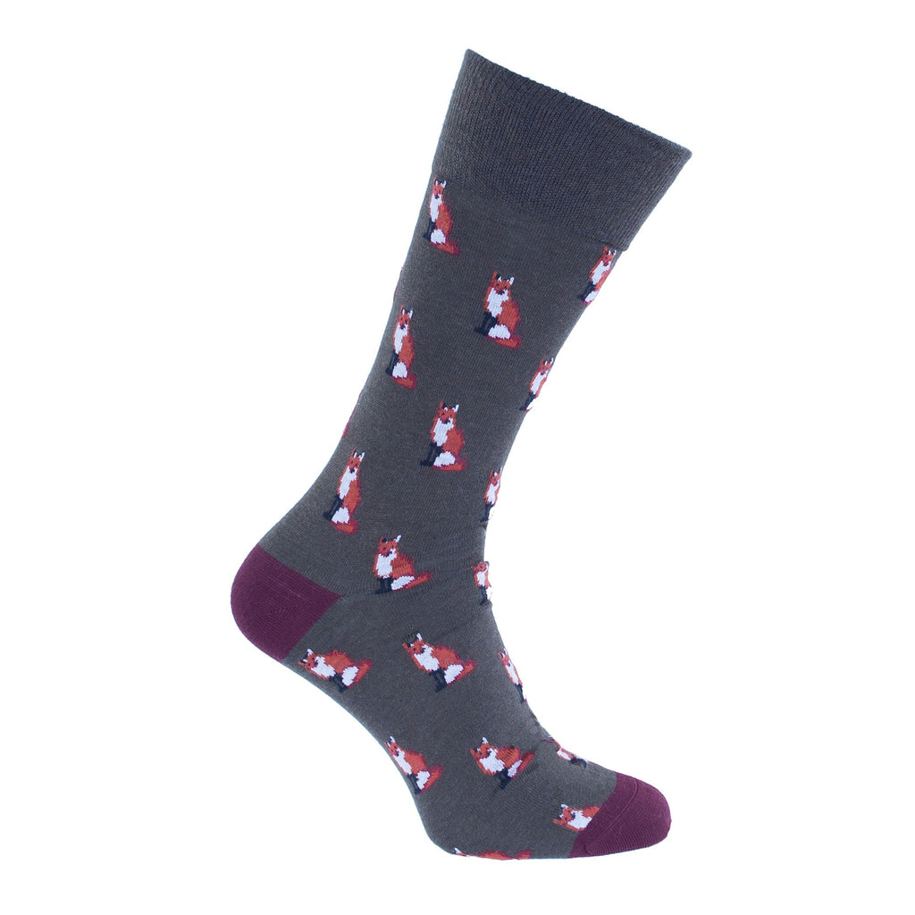 Fox Motif Lightweight Merino Wool Blend Sock UK 7.5-9 Green & Port CLOTHING The Wool Company