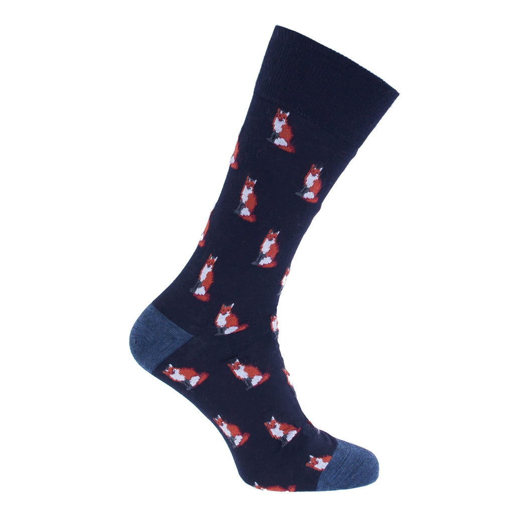 Fox Motif Lightweight Merino Wool Blend Sock - UK 7.5-9 / Navy & Blue - CLOTHING  from The Wool Company