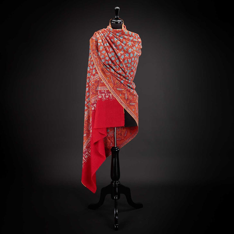Ganderbal Hand Embroidered Pashmina Blossom -  - CLOTHING  from The Wool Company