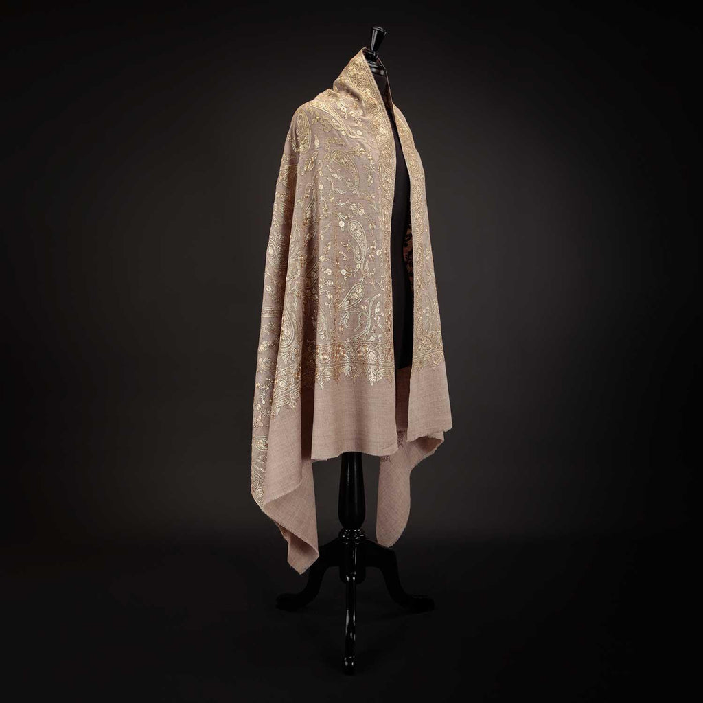 Ganderbal Hand Embroidered Pashmina Golden Zari -  - CLOTHING  from The Wool Company