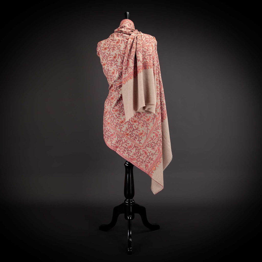 Ganderbal Hand Embroidered Pashmina Jaal -  - CLOTHING  from The Wool Company