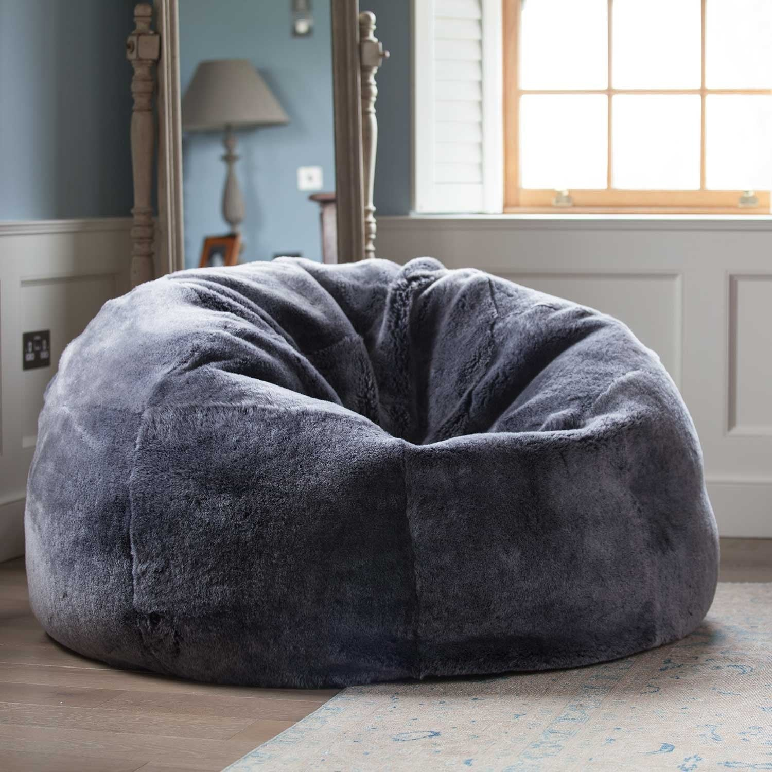 Admirable Giant Sheepskin Bean Bag Graphite Gmtry Best Dining Table And Chair Ideas Images Gmtryco