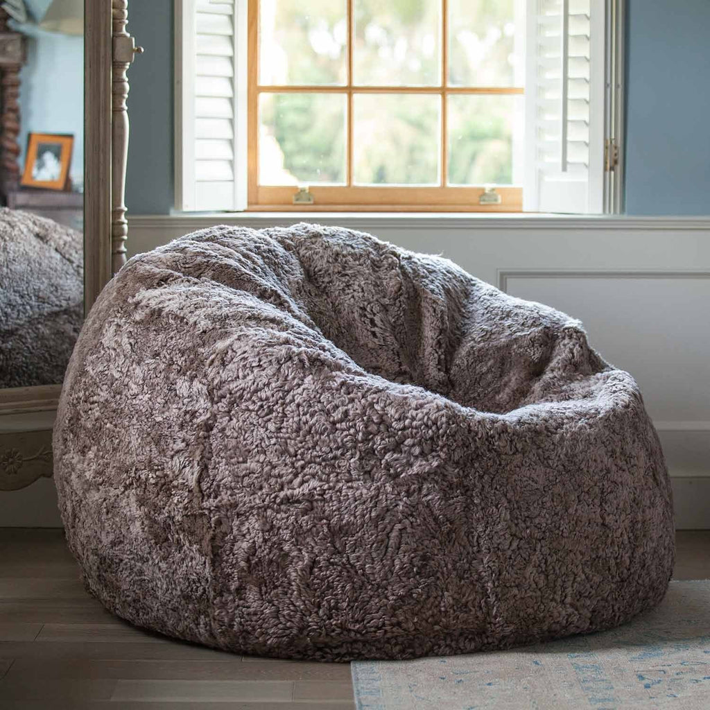 Buy Giant Sheepskin Bean Bag in Taupe From The Wool Company Online