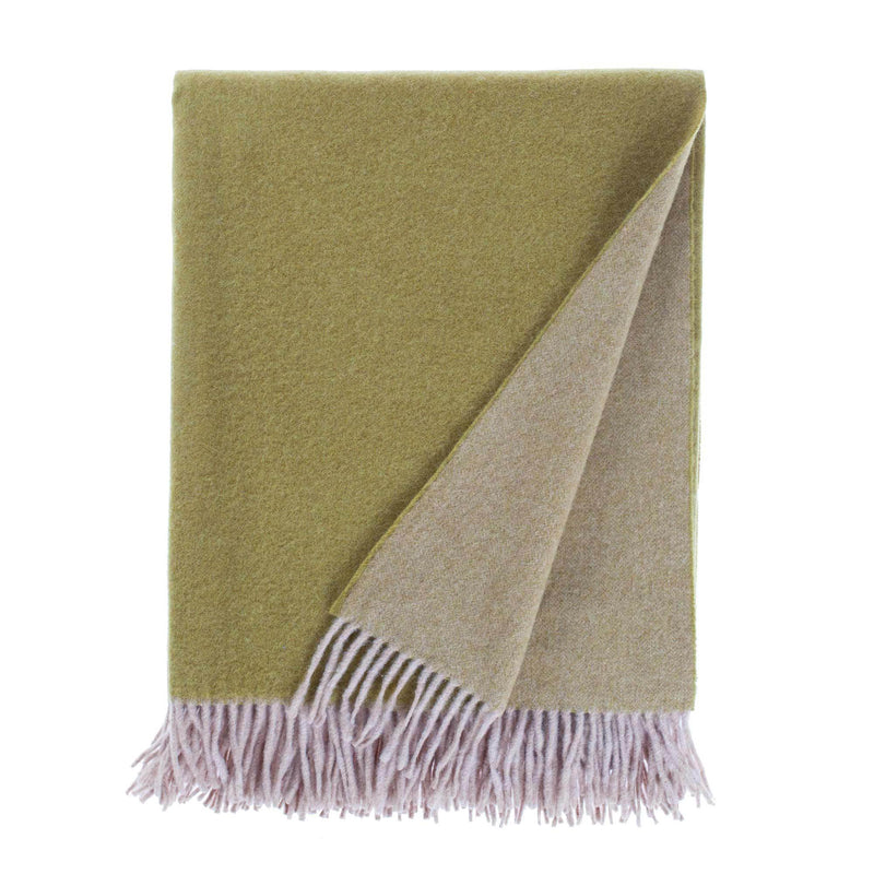 Giotto Merino Double Face Throw Olive LIVING The Wool Company