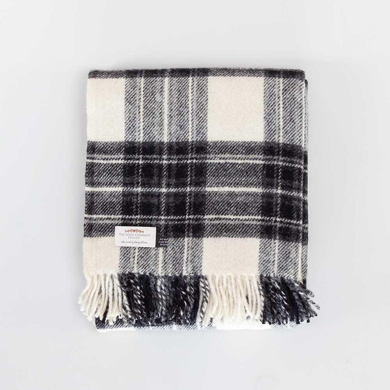 Grey Dress Stewart Tartan Check Pure New Wool Throw -  - LIVING  from The Wool Company
