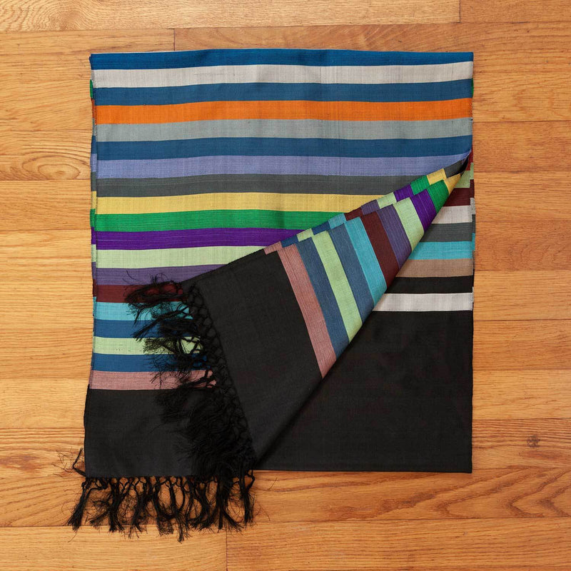 Hand Crafted 100% Silk Scarf in Black Stripe -  - OFFERS and SALE  from The Wool Company