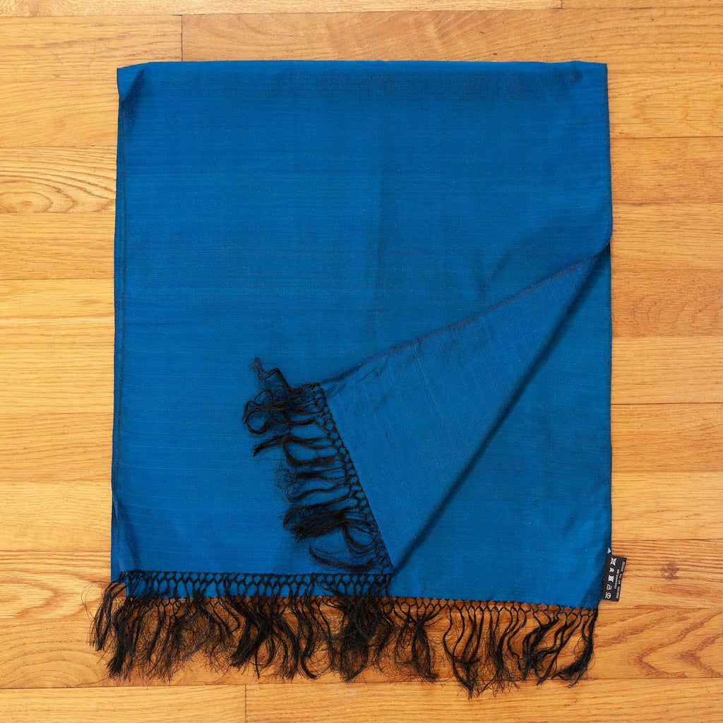 Hand Crafted 100% Silk Scarf in Cobalt Blue -  - OFFERS and SALE  from The Wool Company