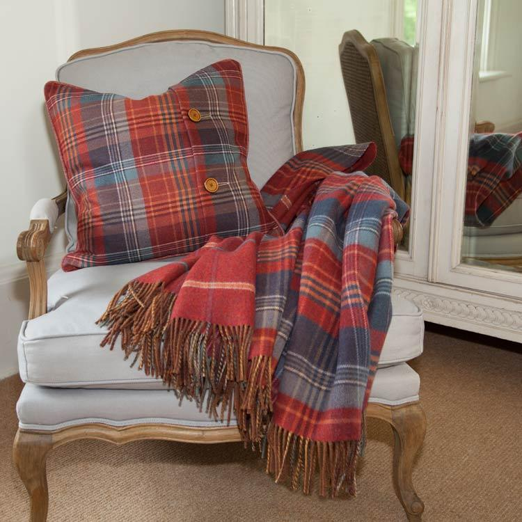 Heritage Double Faced Throw Russet LIVING The Wool Company