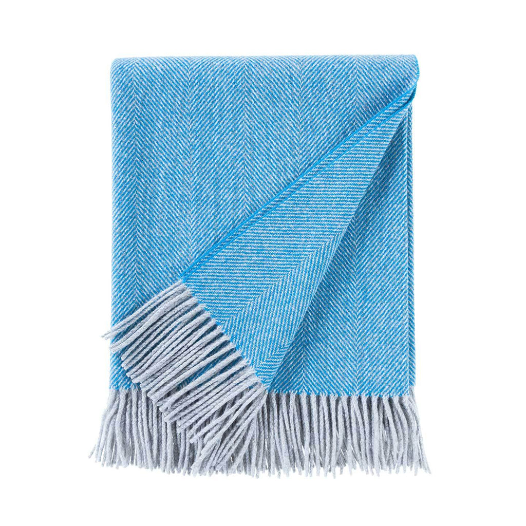Herringbone Lambswool Throw Turquoise & Silver LIVING The Wool Company