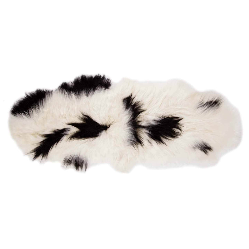 Icelandic Double Sheepskin Natural White and Black SHEEPSKIN The Wool Company