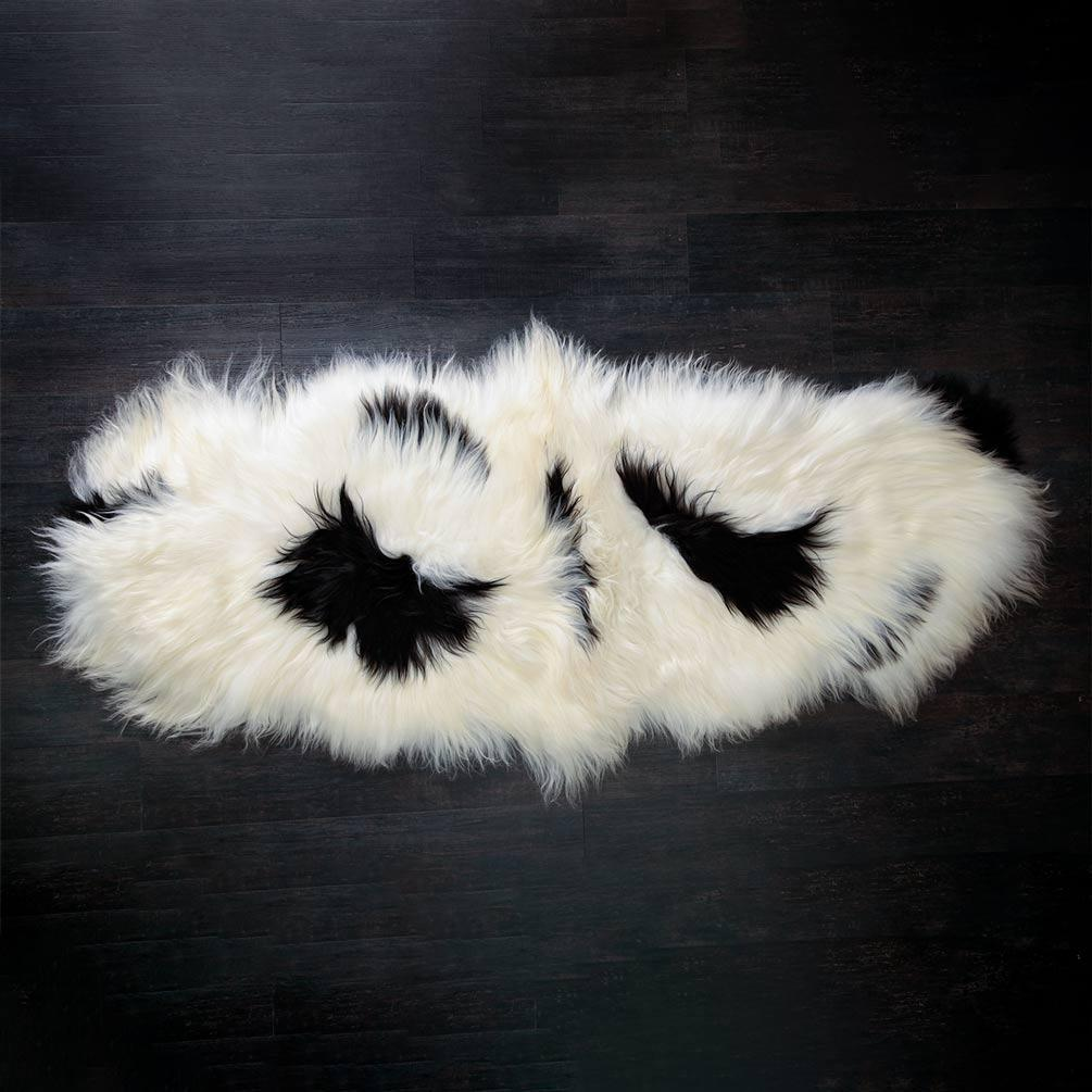 Icelandic Double Sheepskin Natural White and Black -  - SHEEPSKIN  from The Wool Company