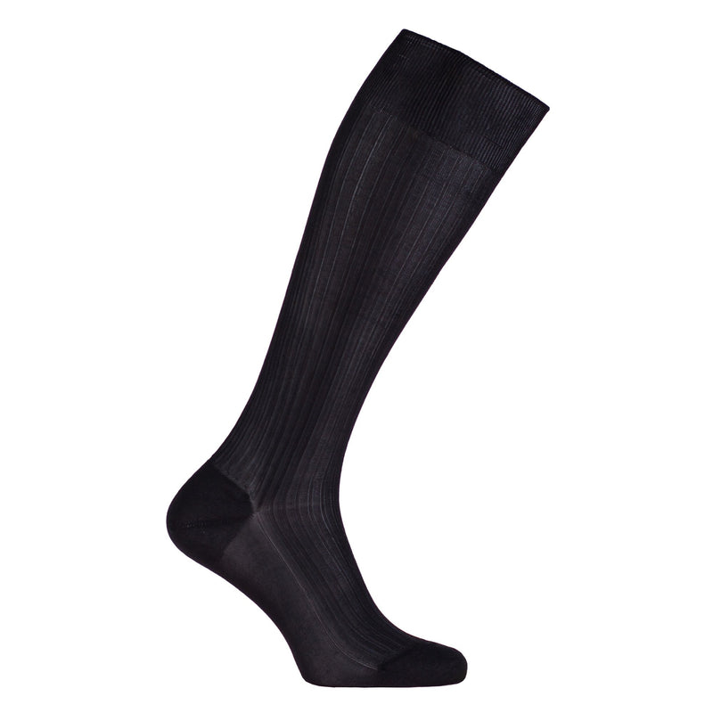 Knee-High Tailored 100% Silk Socks Black - 5.5-6 - CLOTHING  from The Wool Company