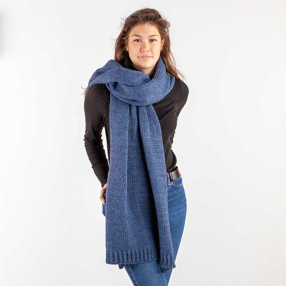 Buy Knitted Alpaca Scarf Blue From The Wool Company Online