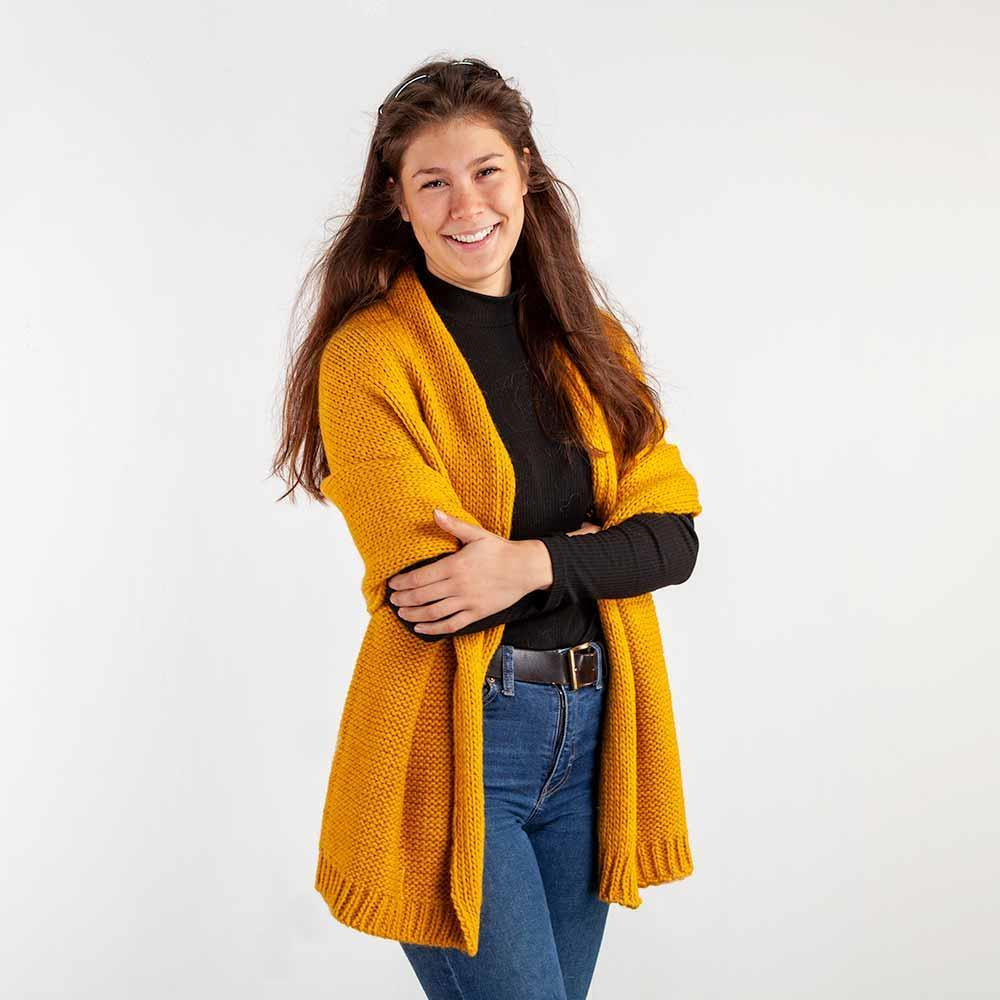 Buy Knitted Alpaca Scarf Mustard From The Wool Company Online