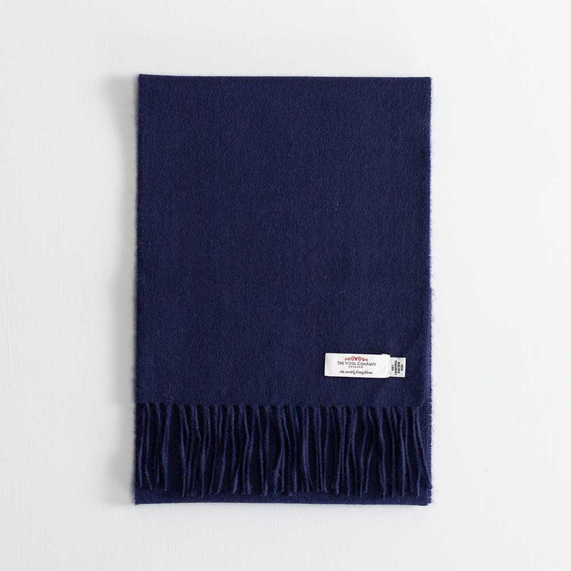 Buy Lambswool Scarf Navy From The Wool Company Online