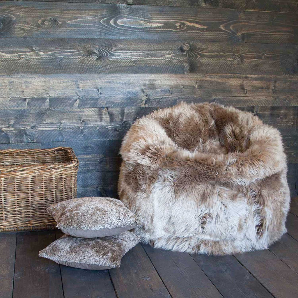 Buy Large Long Wool Sheepskin Beanbag Taupe From The Wool Company Online