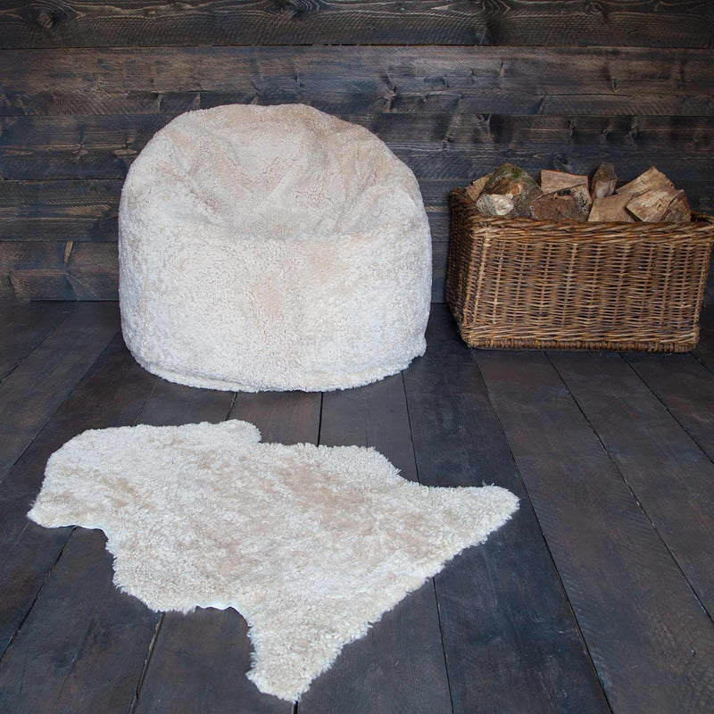Large Sheepskin Bean Bag in Oyster SHEEPSKIN The Wool Company