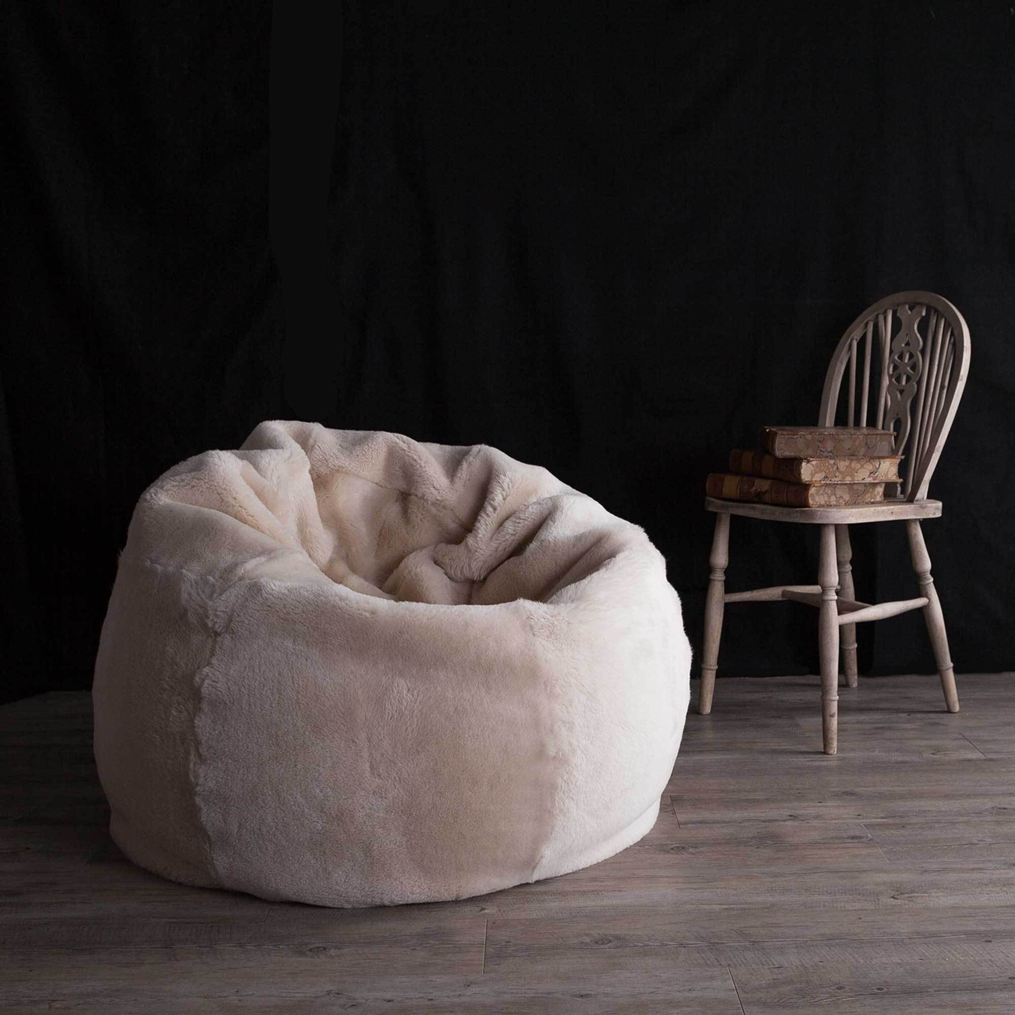Phenomenal Large Shorn Sheepskin Bean Bag In Oyster Gmtry Best Dining Table And Chair Ideas Images Gmtryco