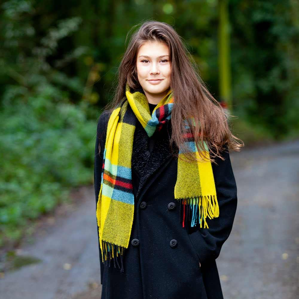 Buy Large Tartan Lambswool Scarf Cornish National From The Wool Company Online