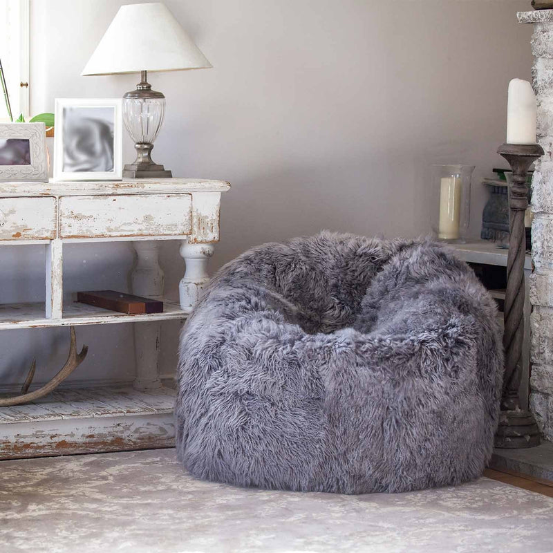 Large Yeti Sheepskin Bean Bag Pewter SHEEPSKIN The Wool Company