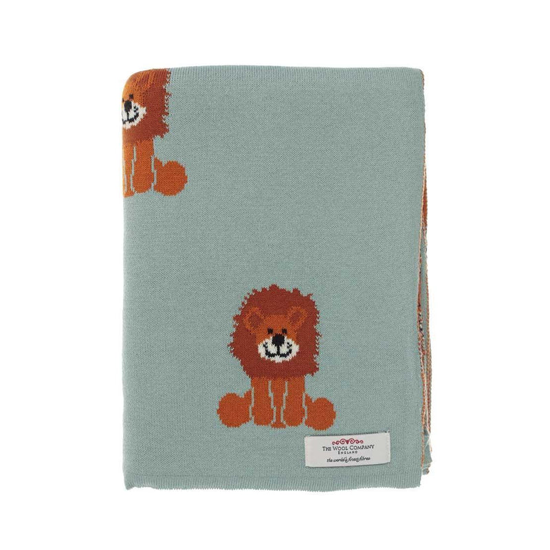 Lenny Lion Baby Blanket Blue Green BABY The Wool Company